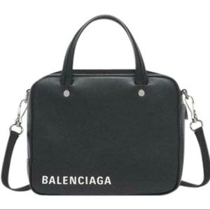 Balenciaga Triangle Square Xs Black Leather